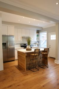 High Gloss Kitchen with Reclaimed Wood Countertop - Stefand Woodwork